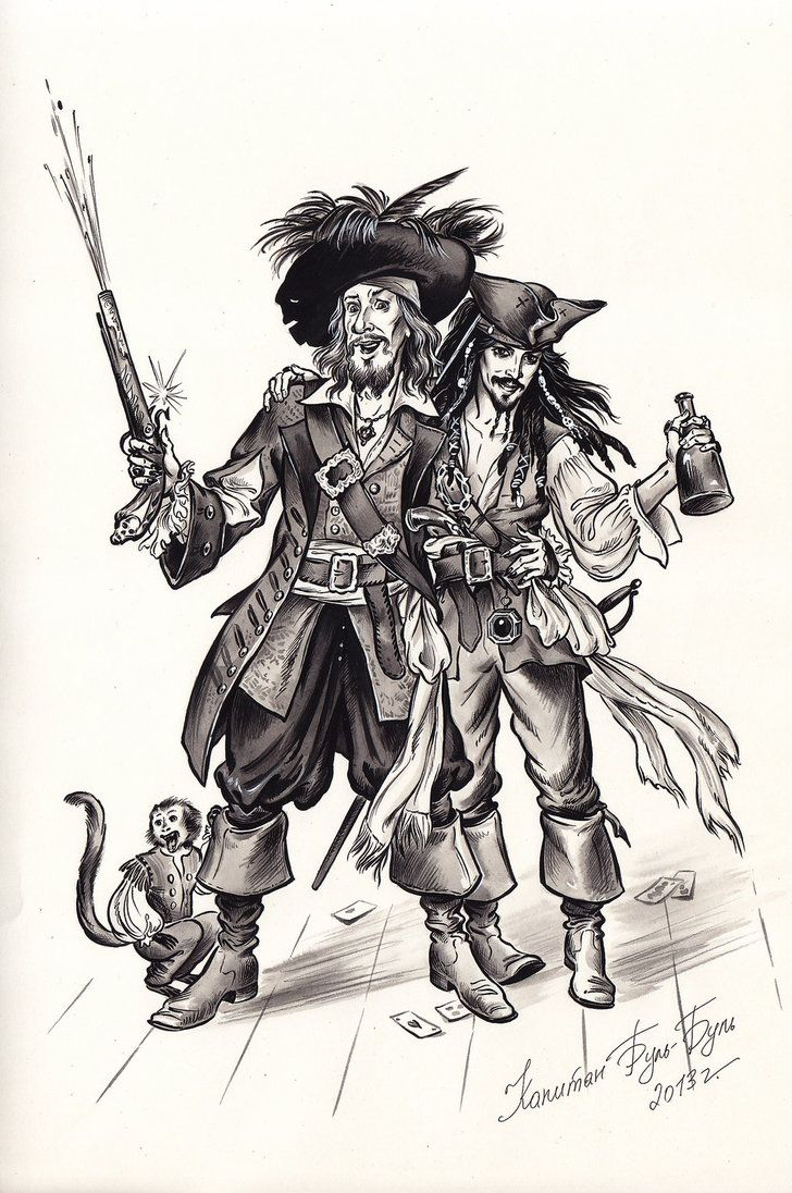 Captain Jack Sparrow and Hector Barbossa. by Bormoglot