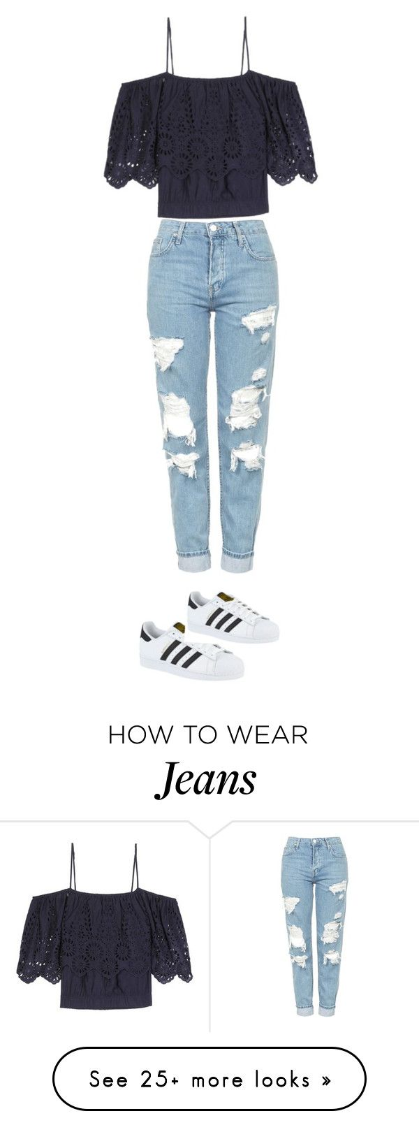 """Shoes: superstar original Jeans :Boy-friend Top: croptop"" by gena2003 on Polyvore featuring Topshop, Ganni and adidas"