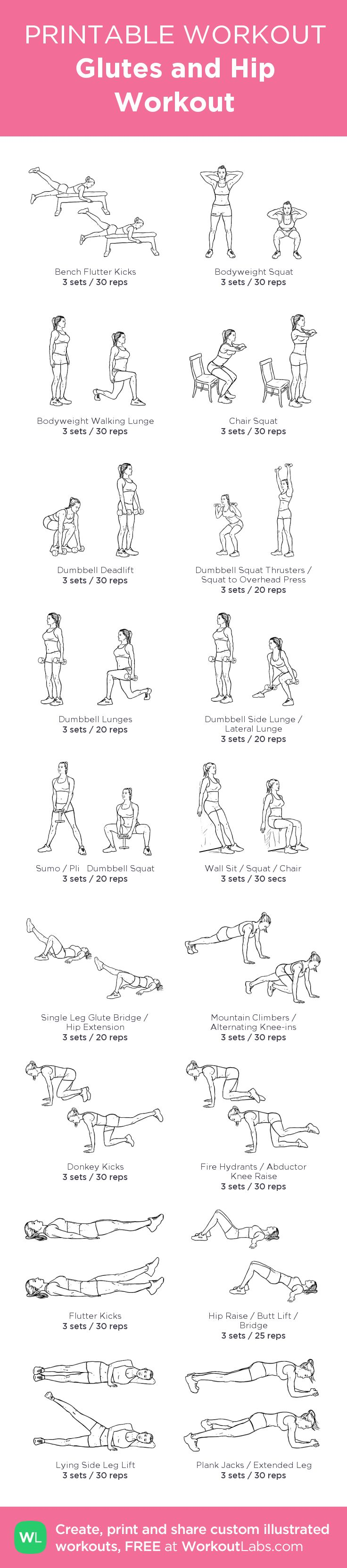 Glutes and Hip Workout:my visual workout created at WorkoutLabs.com • Click through to customize and download as a FREE PDF! #customworkout