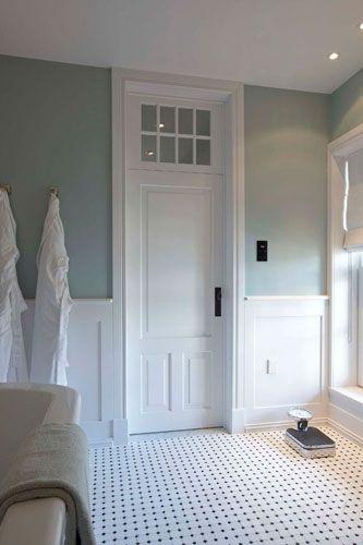 Like The Tile Floor And Transom Window Above Door Black White Tiles Bathroom