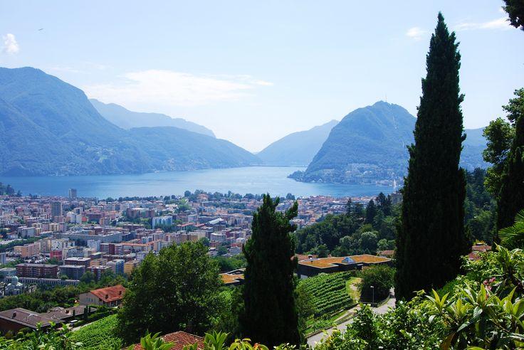 Lugano and the Lake - Lugano, the lake and Mount San Salvatore from Porza, Canton Ticino, Switzerland.