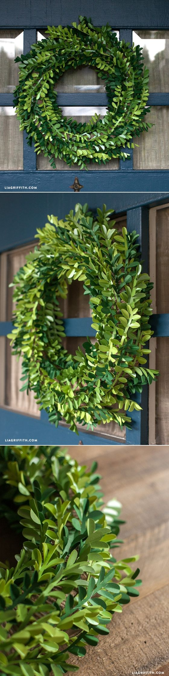 #boxwoodwreath #tutorial #paperflowers at www.LiaGriffith.com