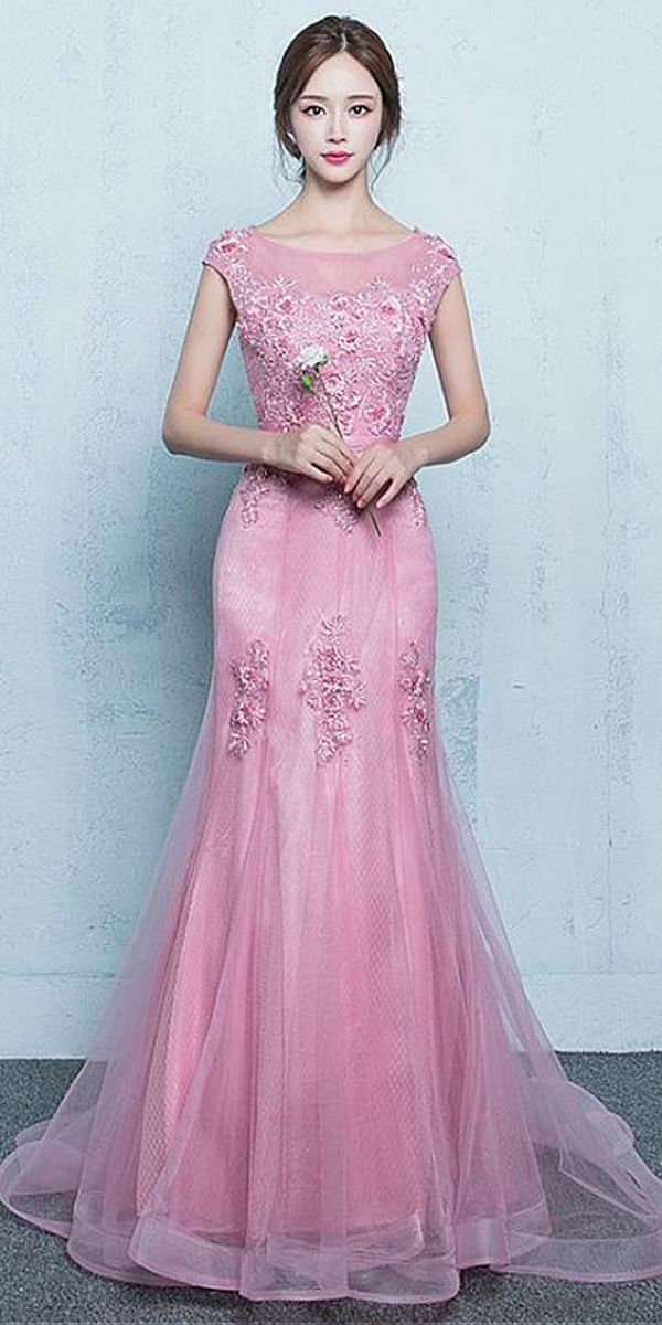 Elegant Tulle Jewel Neckline Floor-length Mermaid Prom Dresses With Beaded  Lace Appliques bf0f0bcf438b