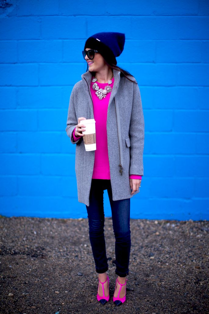 1.13 on the bright side (J Crew coat + J Crew sweater + JBrand jeans + J Crew heels + Michael Kors hat + Prada sunnies + J Crew necklace + Ariella, J Crew rings)