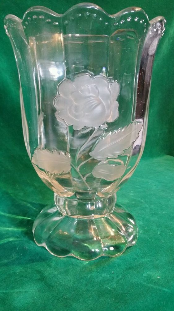 large crystal vase w/ raised & frosted rose designs