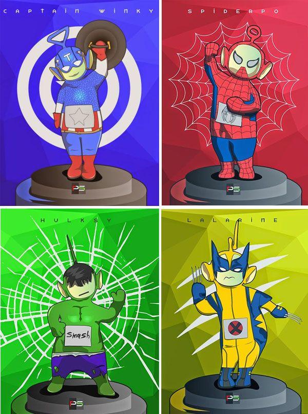 teletubbies superheroes marvel Tinky Winky + el Capitán America= Captain Winky Dipsy + Hulk = Hulksy Lala + Wolverine = Lalarine Po + Spiderman = Spiderpo