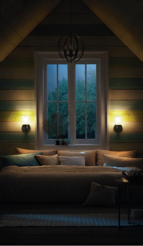 Bedrooms should have different sources of light, like a bright modern chandelier and task lighting, such as lamps or sconces.  See more bedroom lighting inspiration.