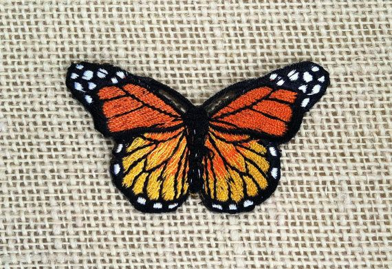"Iron On Patches Butterfly Patch Embroidered Decal 3"" Bright Orange Monarch Butterfly Sew On or Iron On Patch for Jackets."