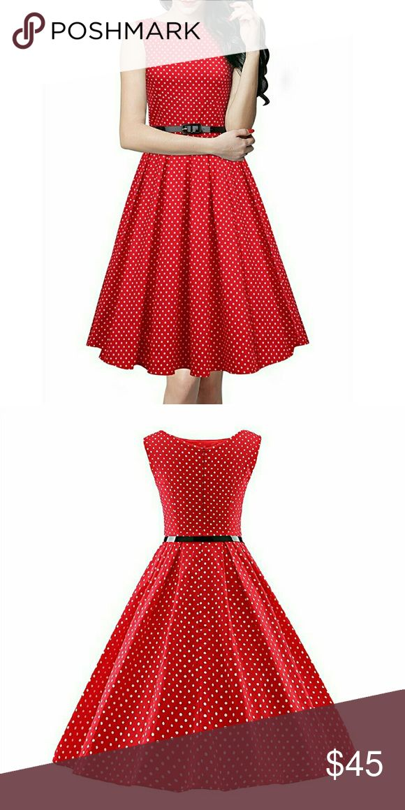 Polka dot vintage dress Absolutely adorable polka dot vintage dress! Full circle skirt bottom that will make you twirl with glee. Belt is included. Similar to modcloth. Modcloth Dresses