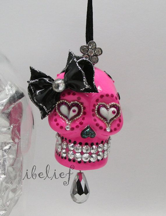 Skull pink day of dead charm hang rear view mirror for by ibelief, $34.00