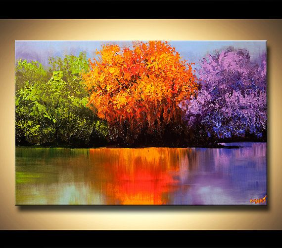 50 Colorful Landscape Trees Canvas Print Ready To por OsnatFineArt