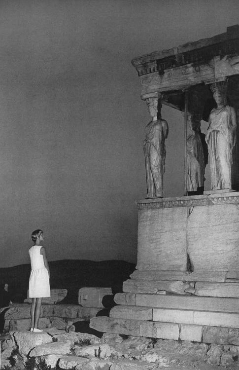 Shrimpton photographed at the Acropolis under the Erechteion overlooking the Caryatids. Photo by AVEDON, '67.