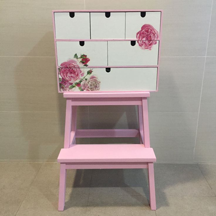 Hand-painted wooden drawer unit with decoupage flowers fleurdelis.tictail.com