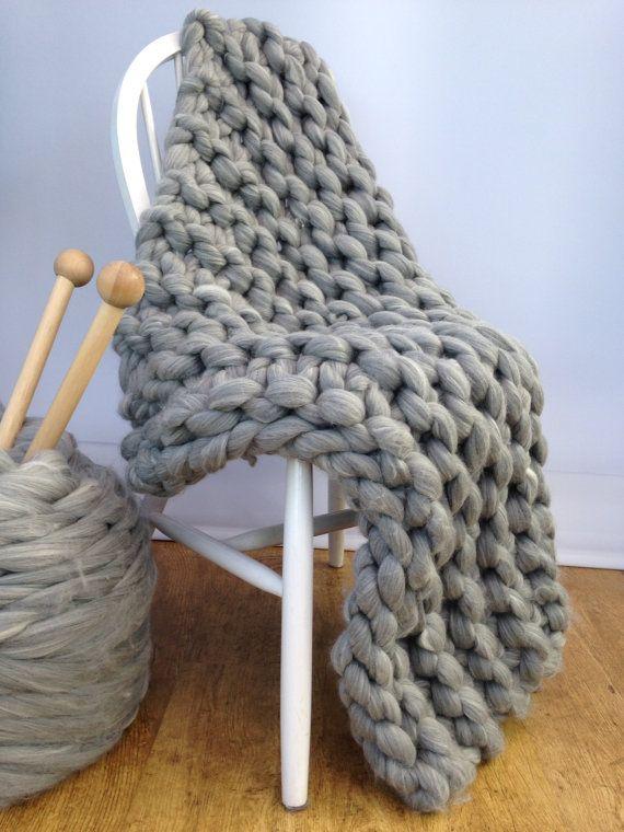 Knitting Pattern Kits : Blanket KNITTING KIT. Giant 40mm Knitting needles. Super ...