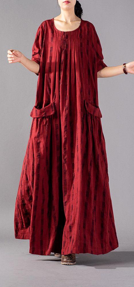 71aa8760da9d Elegant-red-Plaid-long-oversized-o-neck-baggy-linen-maxi-dress -vintage-pockets-kaftans