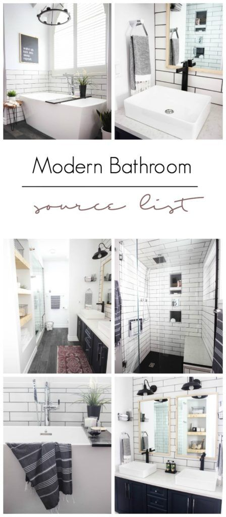 A list of the sources for all of the projects, accessories, faucets, and fixtures in the Modern Master Bathroom Design. Beautiful matte black and chrome finishes with natural wood in this ensuite. Long white subway tiles on walls in shower and behind bath. Beautiful modern and industrial bathroom ideas.