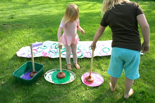 Plungers to provide resistance when painting - gross motor, upper extremity strength, trunk strength/control