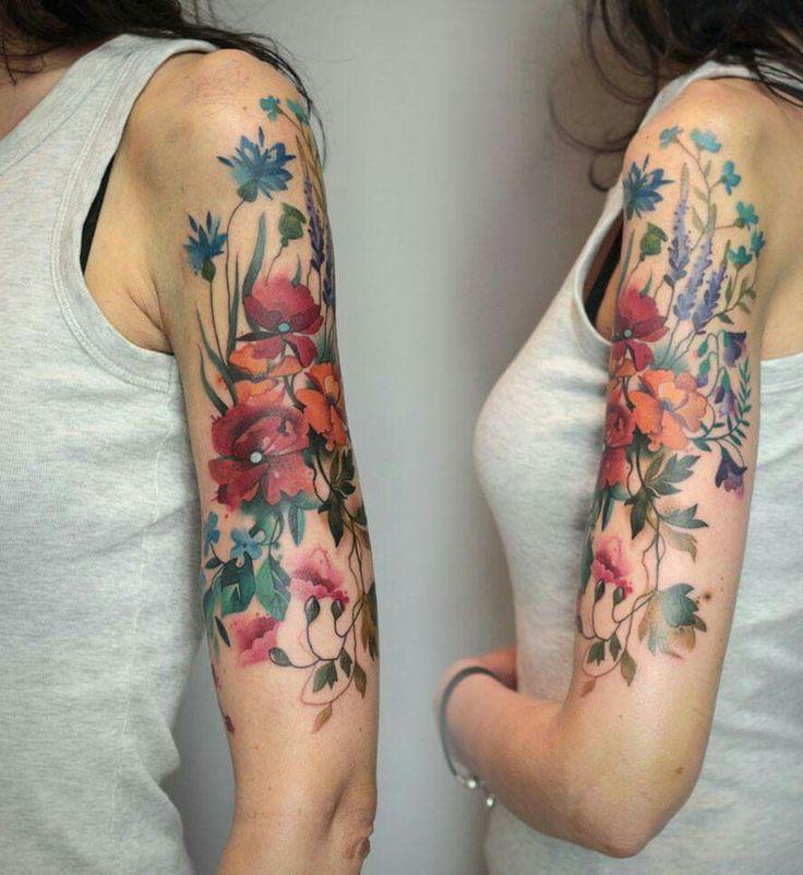 beautiful feminine sleeve tattoos