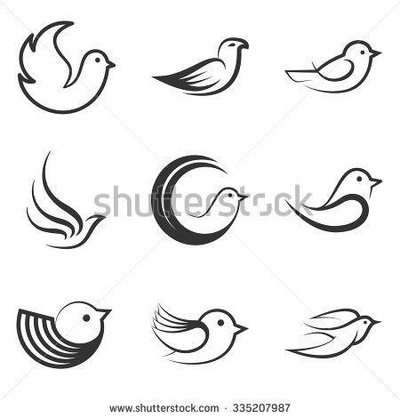 Collection of Bird shapes and logos on white background.Vector illustration. Bird logo. Bird set. Bird image. Bird shapes.
