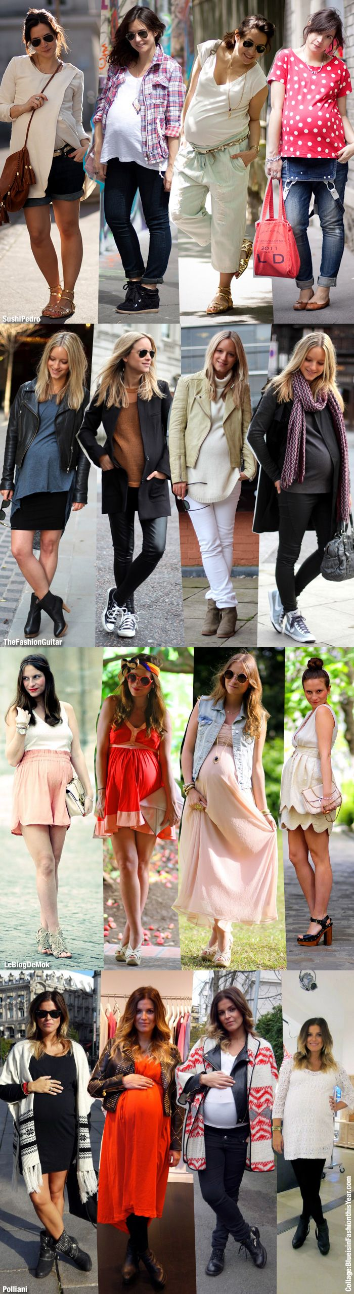 maternity street style  bloggers' collage