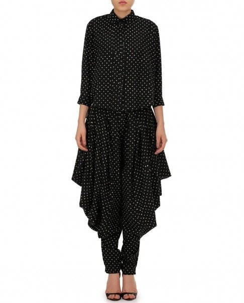 Black Dhoti Pants with Polka Dots - Bungalow 8 - Designers