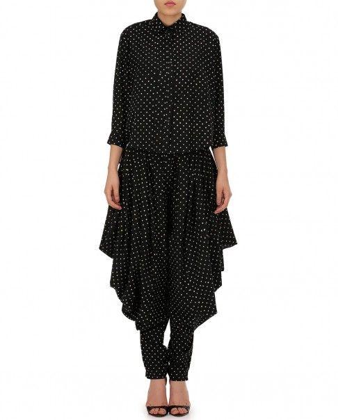 Black Dhoti Pants with Polka Dots - Bungalow 8 - Designers