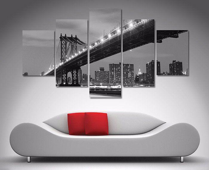 Manhattan Bridge Black And White 5 Piece Diamond Shaped Wall Art U2013 Dunn  Furniture