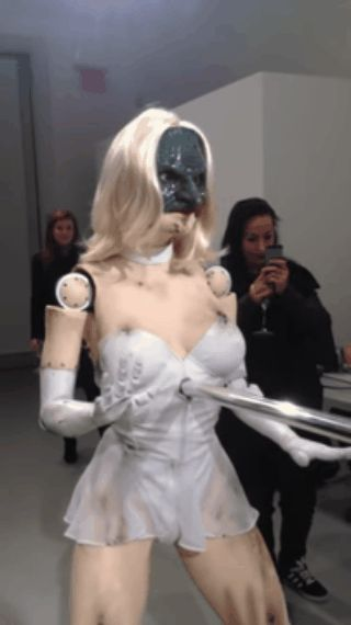 Is this the most terrifying robot ever? Animatronic dancer stares at you as 'she' gyrates to Blurred Lines | Mail Online