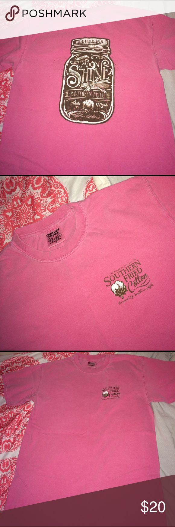 Southern Fried Cotton Tee So Fri Co cotton tee shirt! Short sleeve, pink, printed on Comfort Colors. Great condition. Size small. Logo on the front with a mason jar on the back! Vineyard Vines Tops Tees - Short Sleeve