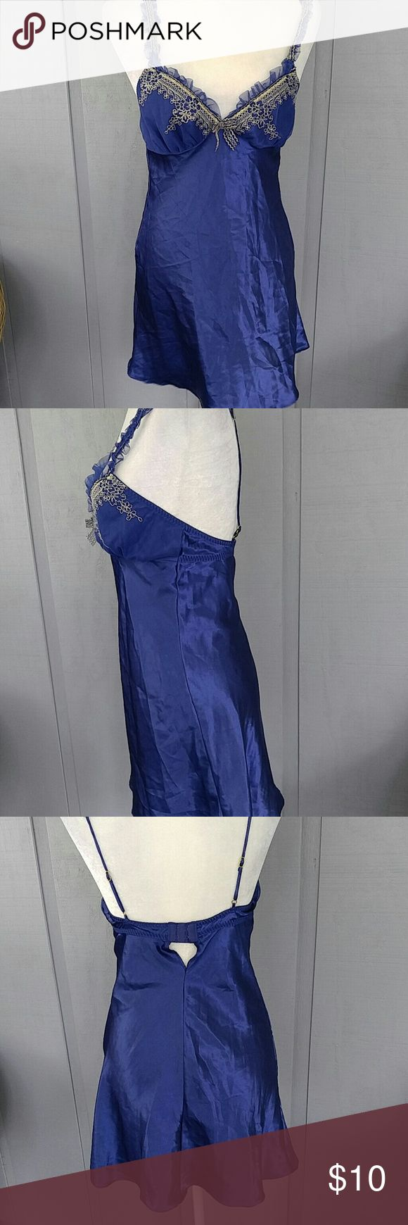 Cinema Etoile royal blue lingerie S Gorgeous shimmering fabric in royal blue with gold lace trim Cinema Etoile Intimates & Sleepwear Chemises & Slips