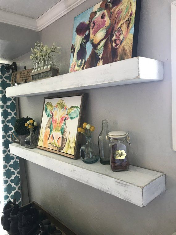 Floating Shelf Whitewashed Floating Shelves Farmhouse Shelf Rustic Floating Shelf Chunky Shelf Fa Floating Shelves Floating Shelves Diy Wooden Floating Shelves