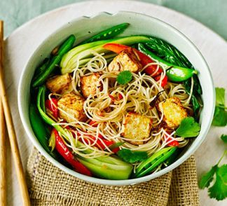 Asian tofu with stir-fried noodles, pak choi & sugar snap peas