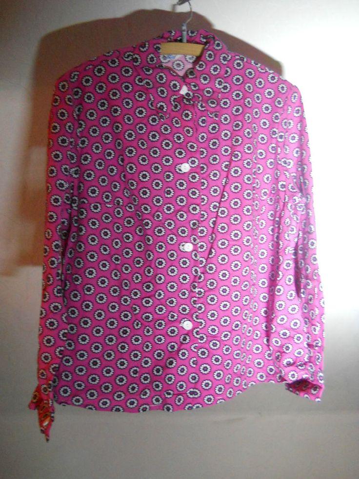 hemd damen pink rosa gänseblümchen - 1970er jahre true vintage veb vowetex