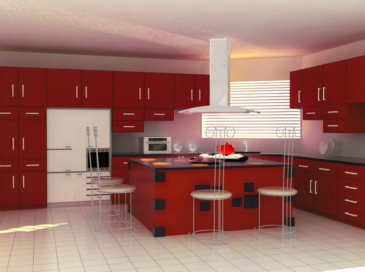 Admirable Red And White Modular Kitchen Design Lovely