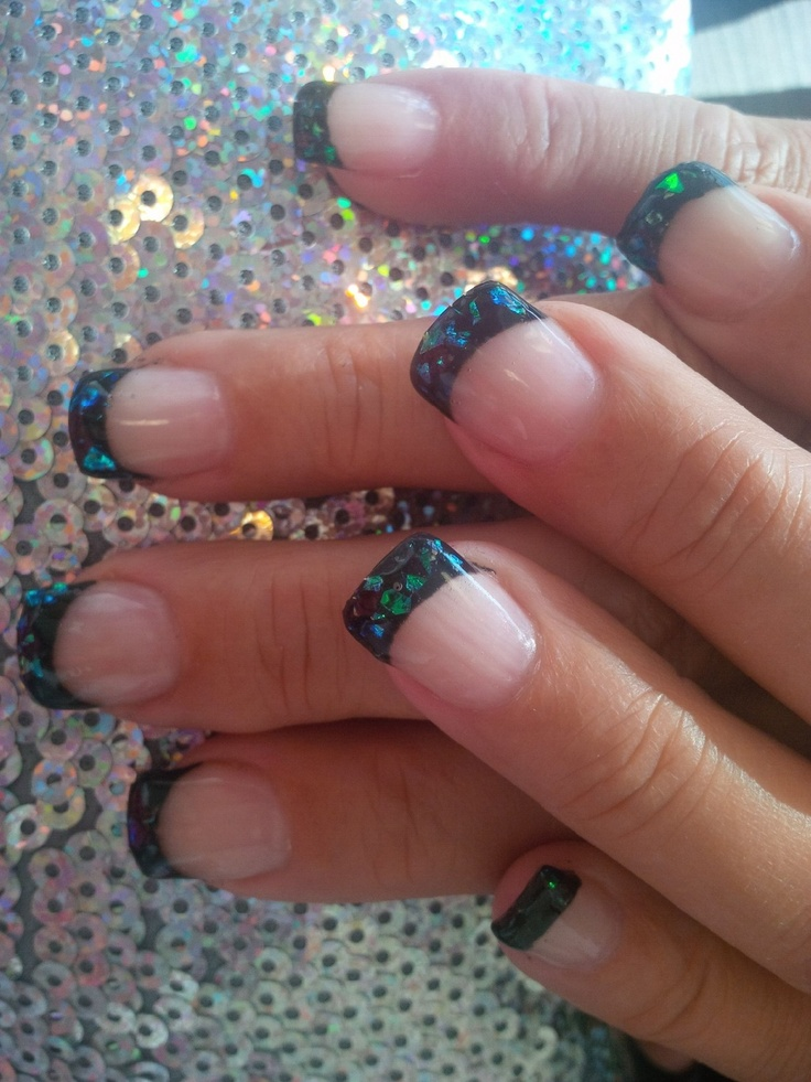 Black Gel Nails With One Silver Glitter Nail: Gel Nails. If You Put White Instead Of Black, The Glitter