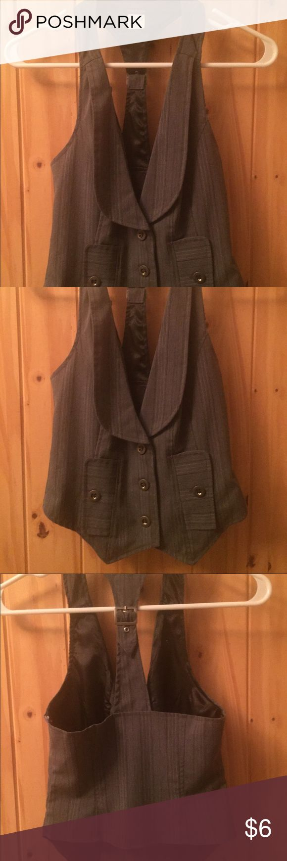 Gray pin stripe vest Flattering fit, buckle detail on back. Great condition, cute for the office! Maurices Jackets & Coats Vests