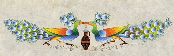 Peacocks Kissing by Seeroon Yeretzian