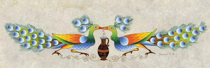 Peacocks Kissing by Seeroon Yeretzian