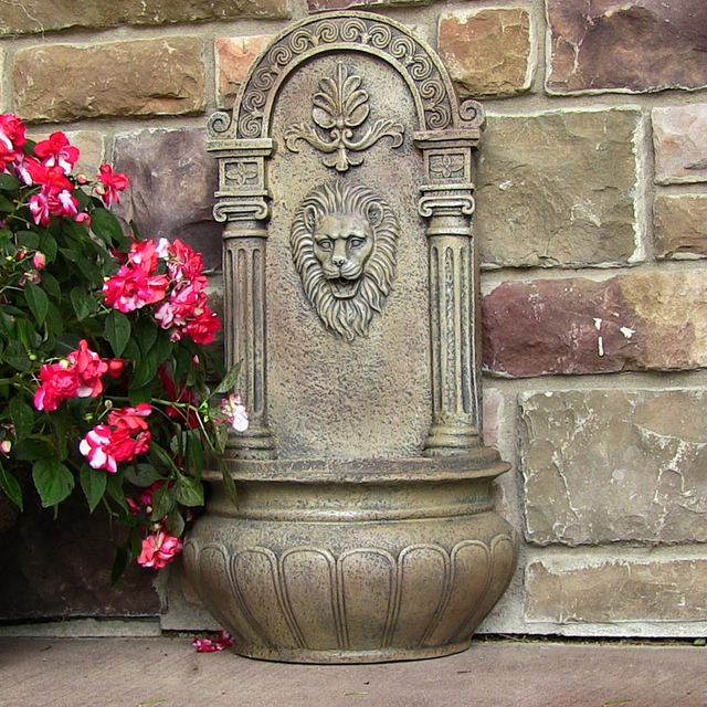 Leo Outdoor Wall Fountain, Florentine Stone contemporary outdoor fountains