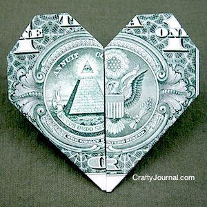 Dollar Bill Heart Origami