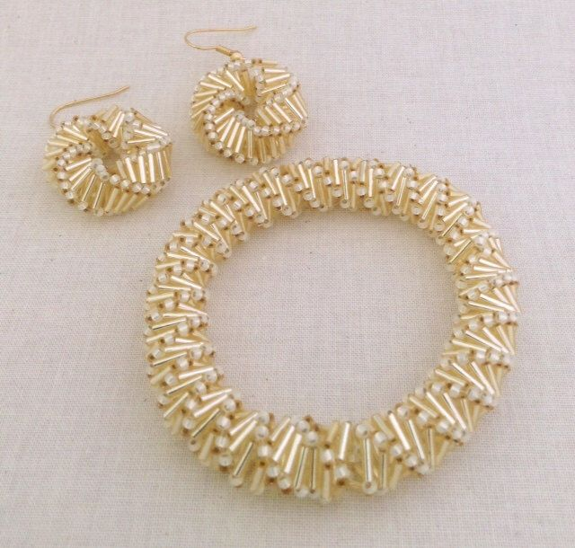 Golden Helix Bracelet And Earring Beading Pattern Tutorial Beadweaving Russian Spiral Bugle Bead Pattern Seed Beads by SweetBeadsLV on Etsy https://www.etsy.com/listing/266289938/golden-helix-bracelet-and-earring