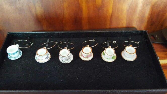 Teacup wine glass charms