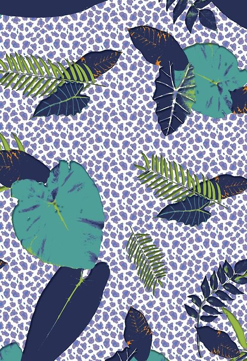 daily sketch. another version of an earlier print, this time with a cheetah background. photos of leaves, manipulated and indexed in photoshop. put into a 64cm high repeat.