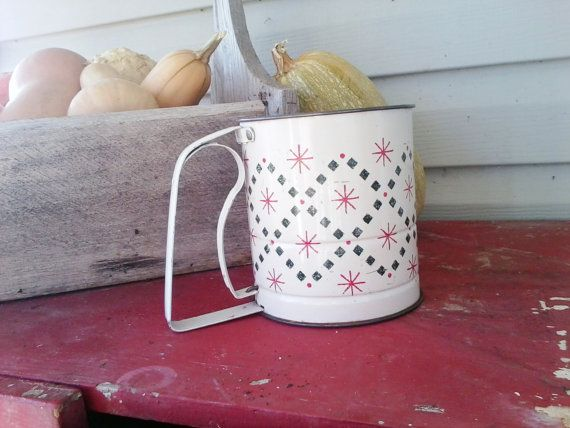 After Christmas SaleAntique white sifter with by happydayantiques, $14.00