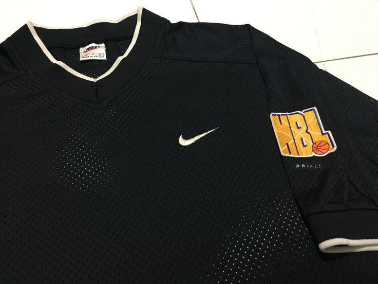 Vtg 90s Nike NBL basketball Jersey M black v-neck swoosh mesh net National basketball league by AllStyle99 on Etsy