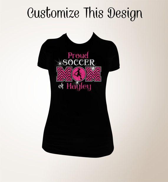 Proud Soccer Mom T-shirt Soccer Mom Bling Shirts Bling