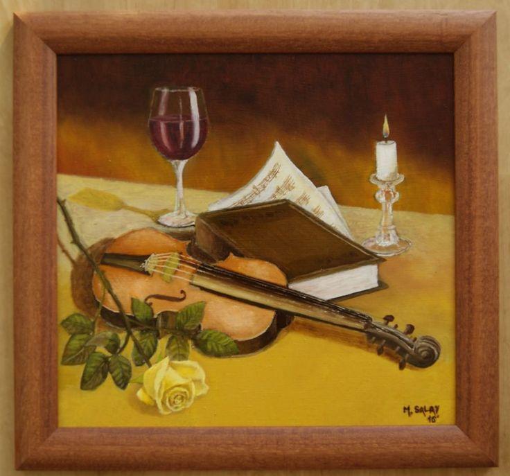 Original Oil Painting Still Life Wine Violin Rose Fine Art Canvas Signed Framed  | eBay
