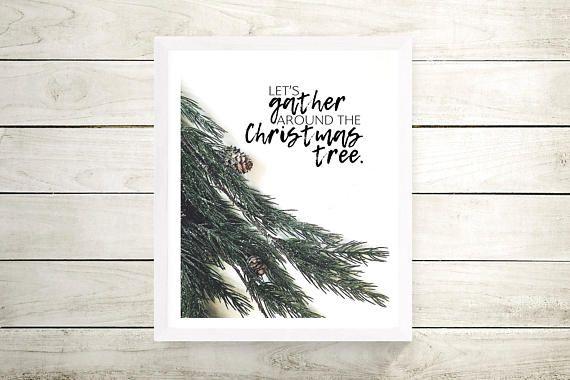 Christmas Tree Printable, Gather Print Art, Christmas Sign Printable, Christmas Printables, Xmas Gift #ad #afflink