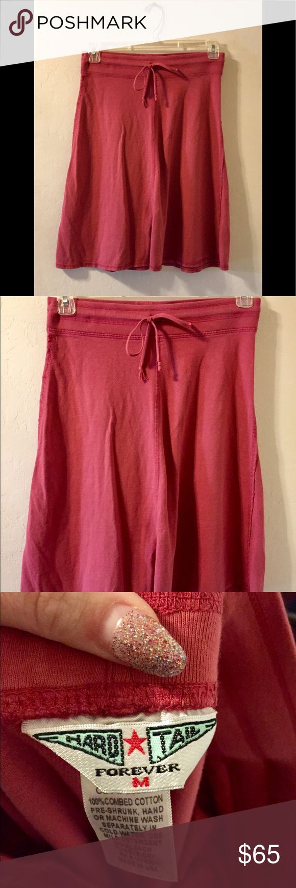 Hard Tail Pink cotton Aline Skirt Medium Size: Medium Color: Salmon Pink 100% combed cotton No rips or stains Aline skirt with drawstring Hard Tail Skirts A-Line or Full