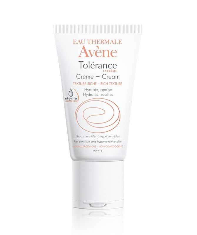 Tolérance Extrême Cream - Rich, non-greasy texture allows for optimal fusion with the skin. Delivering soothing and moisturizing properties in a rapidly absorbing cream. Provides 6 hours of hydration in only 7 essential ingredients. Formulated without any preservatives, parabens or fragrances. This product is safe to use after dermatological procedures such as peels or laser treatments.
